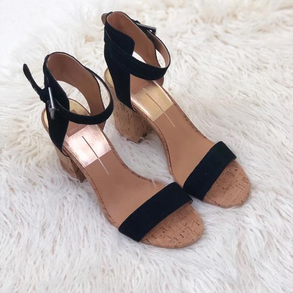 06a714b6cd4 Dolce Vita Black Cally Block Heel Sandal 10M